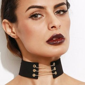 Thick Black Gold Chain Lace Up Choker NWT